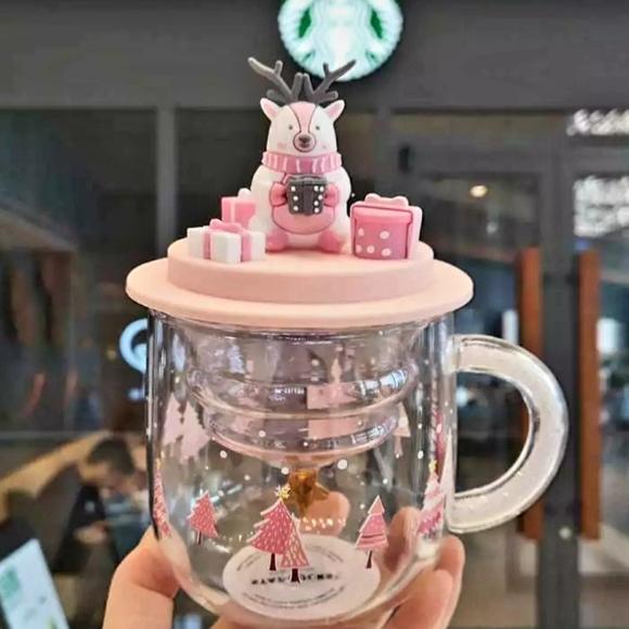 Starbucks Pink Xmas cup w/ Deer Lid